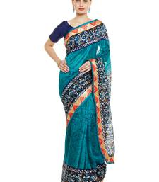 Buy Chhabra 555 Blue Printed Cotton Silk Saree With Blouse all-seasons-saree online