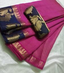 Buy Magenta Tussar silk saree with pair peacock border tussar-silk-saree online