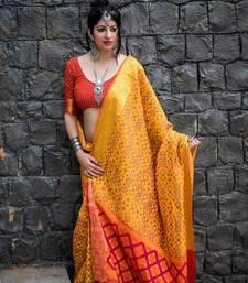 Buy Orange woven patola saree with blouse patola-saris online