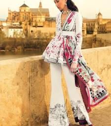 Buy White embroidered cambric unstitched salwar with dupatta sharara online