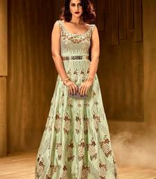 Buy Khwaab Magic mint  brezza satin partywear Embroidered Stitched Gown party-wear-gown online