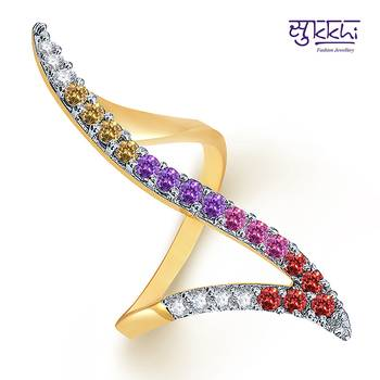 Sukkhi  Gold  and Rodium plated CZ Studded Multicolour Ring