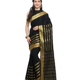 Buy Inddus black chiffon zari woven saree with blouse chiffon-saree online