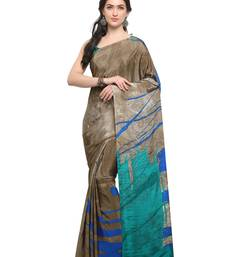 Buy Inddus brown crepe printed saree with blouse crepe-saree online