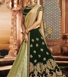 Buy Light green colored embroidered designer jacquard silk  velvet lahenga choli lehenga-choli online
