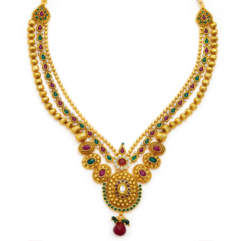 Buy Fancy Gold Plated Three String Necklace Set for Women Online