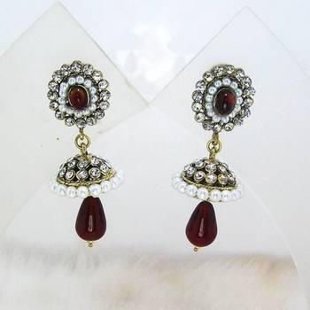 Victorian Mini Tokri Earring Dark Red