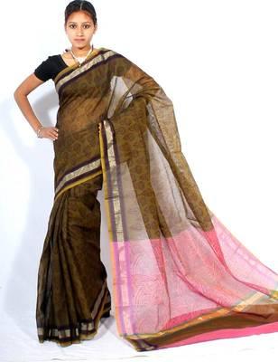 Banarasi cotton fancy printed zari Stripe border