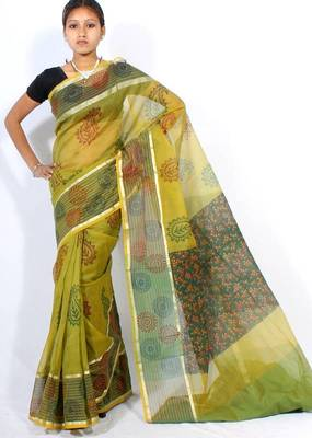 Banarasi cotton fancy printed zari stripe border saree