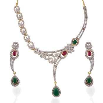 Heena contemporary multicolour round necklace set