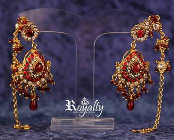 Royal Golden Red Mystique long chain earrings
