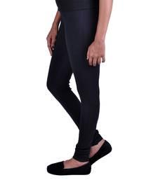 Buy Black plain Cotton - lycra leggings legging online