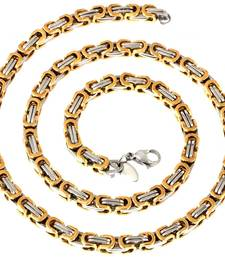 Buy mens stainless steel gold rhodium broad cable link heavy cha Necklace online