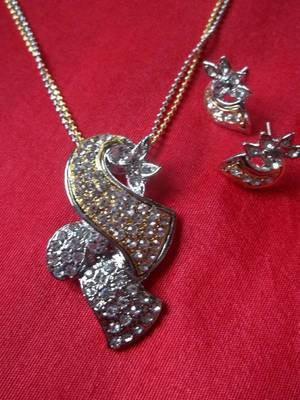 doubled chained diamond look necklace