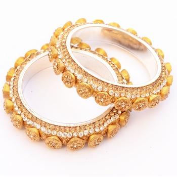 Pair of Spellbinding Golden Stone Studded Kada/ Bangles For Women