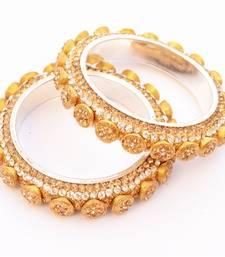 Buy Pair of Spellbinding Golden Stone Studded Kada/ Bangles For Women bangles-and-bracelet online