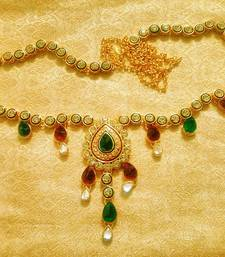 Buy Maroon Green Kundan Waist Belt Kamarband Ethnic Wedding Jewelry waist-belt online