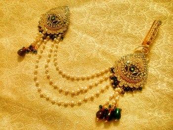 Maroon Green Bridal Saree Pin Brooch Juda Wedding Jewelry