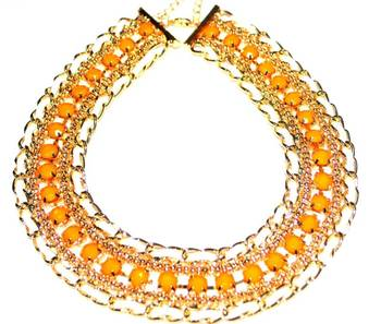 Neon Choker bib necklace(orange)