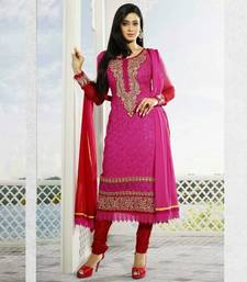 Buy Red embroidered georgette semi-stitched salwar with dupatta straight-suit online
