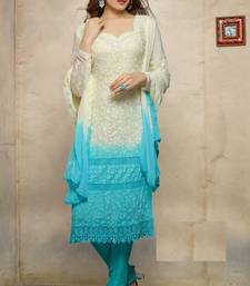 Buy White embroidered georgette semi-stitched salwar with dupatta straight-suit online