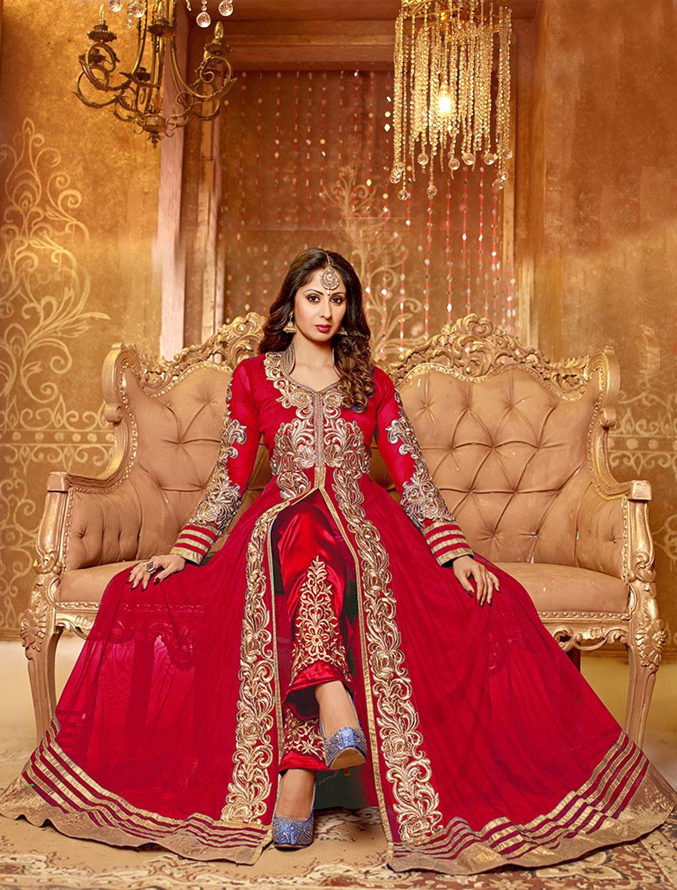 Red heavy bridal anarkali frock 7 suitanarkali in - Buy Red Beige Embroidered Georgette Semi Stitched Anarkali Suit Online