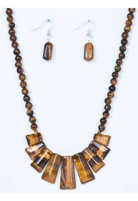 Piebee - Genuine Tiger Eye Necklace and Earring set