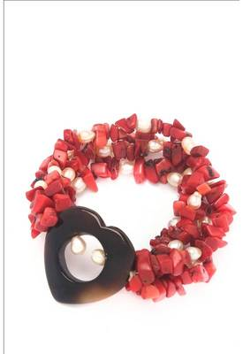 Just Women - Trendy Sea Bamboo and pearl stretch bracelet