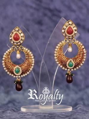 Royal Emerald Rich Pearl Polki Earrings