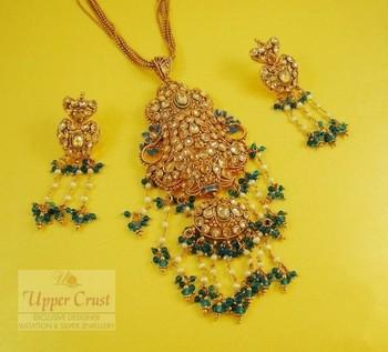 Polki Long Pendant Earring Chain Jewellery Set