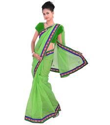Buy Parrot_Green plain net  saree with blouse supernet-saree online