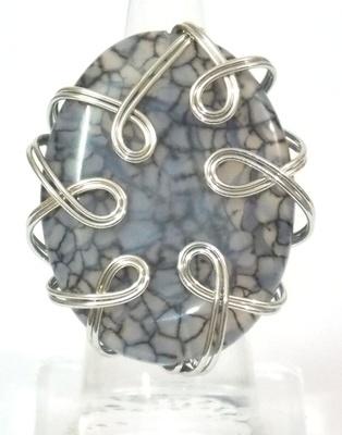 Wire wrapped druzy fine vein grey ring