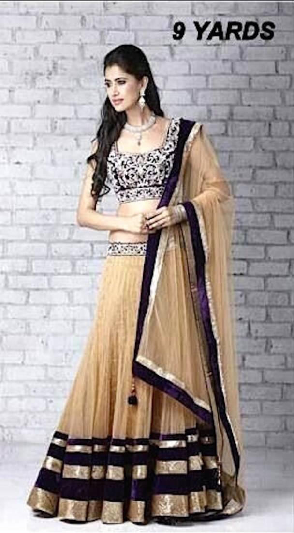 Buy Chiku Plain Net Designer Lahenga With Dupatta Online