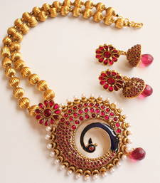 Buy LOVELY ANTIQUE PINK PEACOCK NECKLACE SET-DJ02788 diwali-jewellery online