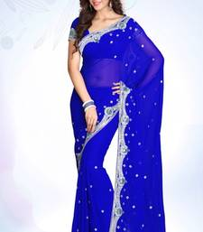 Buy Royal Blue embroidered georgette saree with blouse heavy-work-saree online