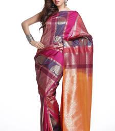 Buy Designer Art Silk Saree in Pink, Purple and Orange art-silk-saree online