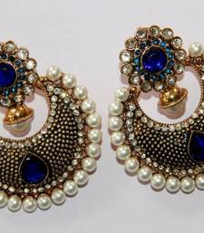 Buy BEAUTIFUL ANTIQUE FINISH HANGINGS WITH BLUE N WHITE PEARLS danglers-drop online