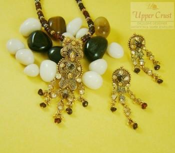 Ethnic Indian Polki Garnate Necklace Pendant Set