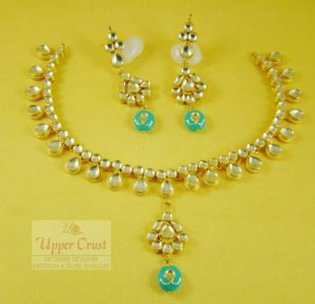 Turquoise Kundan Gold Plated Necklace Set