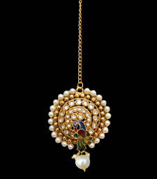 Buy Traditional Indian Bollywood Hair Jewelry Pearl Polki Maang Tikka maang-tikka online