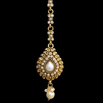 Traditional Indian Bollywood Hair Jewelry Pearl Polki Maang Tikka