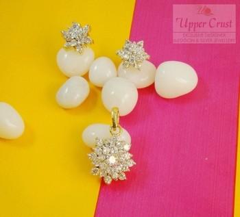 CZ AD Cluster Flower Pendant Earring Jewellery