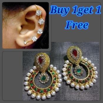 Buy 1 get 1 free Multi pearl polki earrings.