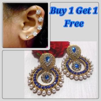 Buy 1 get 1 Blue Pearl polki  earrings with kaan