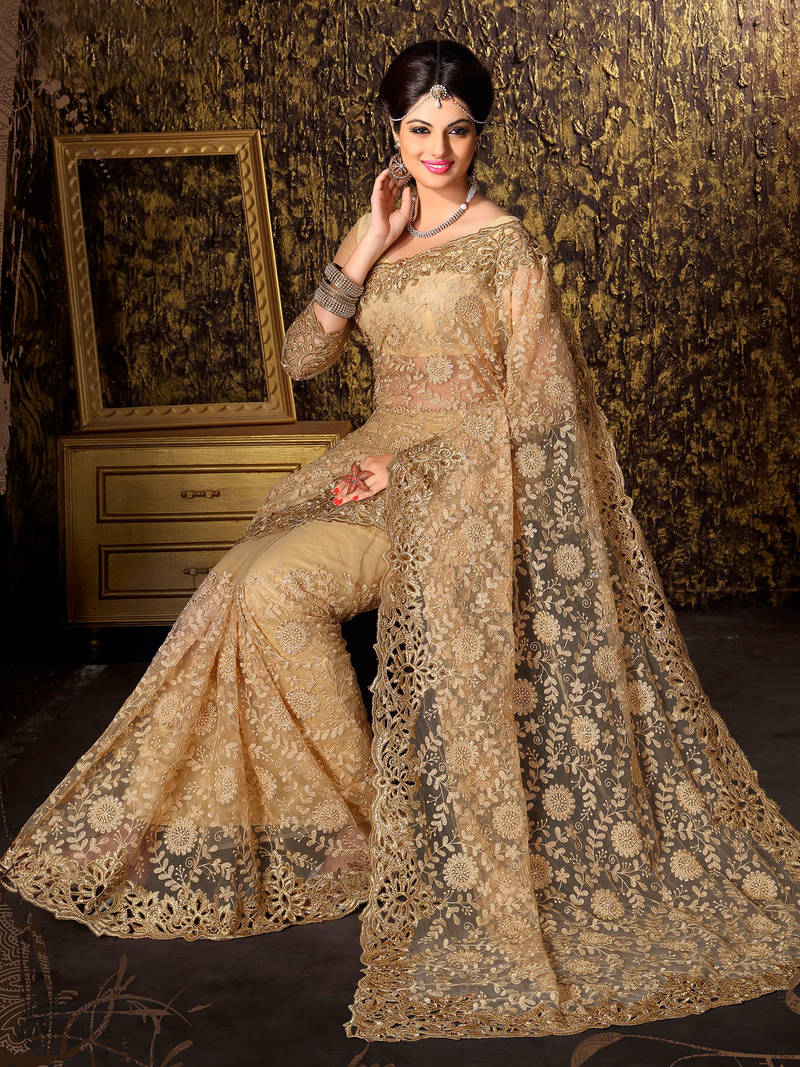 Buy Golden Embroidered Net Saree With Blouse Online