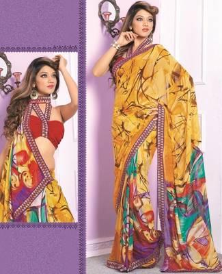 Sarees Faux Georgette Elegant Designer Piece with Blouse Piece D.No 3010A