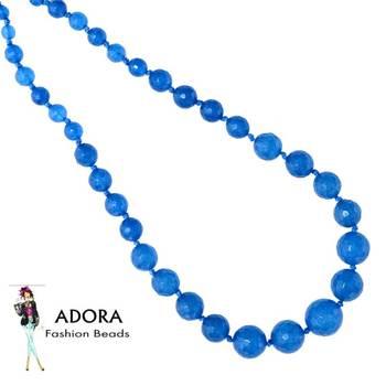 Light ink Blue Jade facets Round Necklace