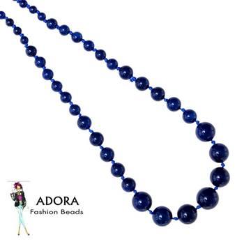 Blue onyx plain Round Necklace