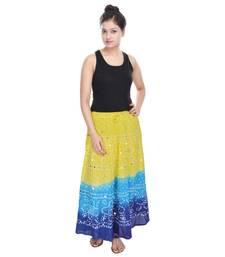 Buy Yellow blue Cotton Long Bandhej Skirt cotton-skirt online