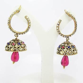 Victorian Curvy Tokri Earring Blue Pink
